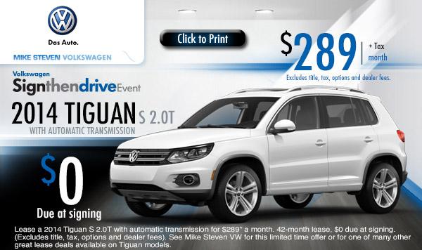 Discount Tire Store Hours >> New 2014 Volkswagen Tiguan Low Payment Lease Specials | Wichita, Kansas