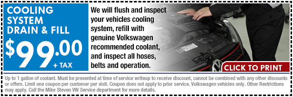 volkswagen cooling system drain and fill service special. Black Bedroom Furniture Sets. Home Design Ideas
