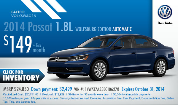 new 2015 volkswagen passat lease special low payment offer. Black Bedroom Furniture Sets. Home Design Ideas
