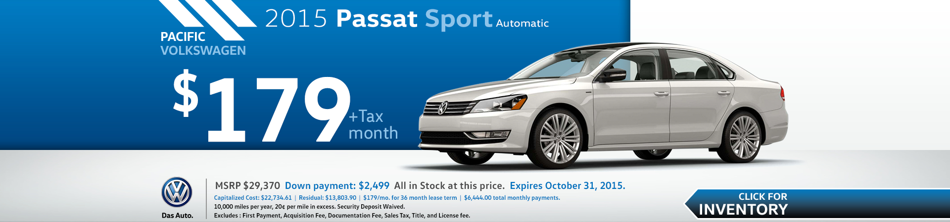 New 2015 Volkswagen Passat Lease Special Low Payment Offer Los