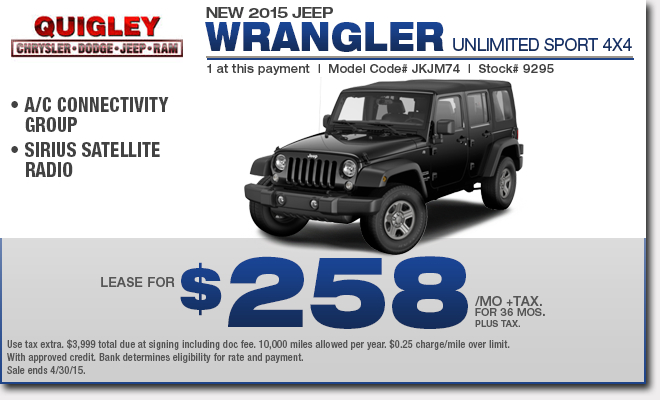 Good Lease Jeep Wrangler Unlimited Lease Deals