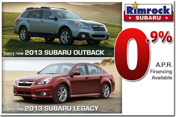 0.9% APR Financing Special on New 2013 Subaru Outback & 2013 Legacy Model Vehicles in Billings, Montana!