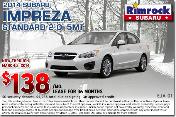New 2014 Subaru Impreza Lease Special serving Hardin & Billings, MT