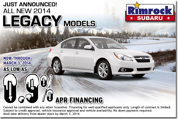 New 2014 Subaru Legacy Finance Coupon Special Billings, MT