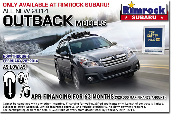 New 2014 Subaru Outback Low APR Finance Special serving Laurel & Hardin, MT