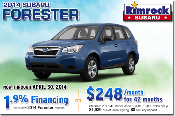 Low Payment Lease Offer on a New 2014 Subaru Forester From Rimrock Subaru in Billings, Montana