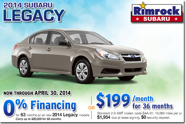 Low Payment Lease and Low APR Financing Offer on a New 2014 Subaru Legacy From Rimrock Subaru in Billings, Montana