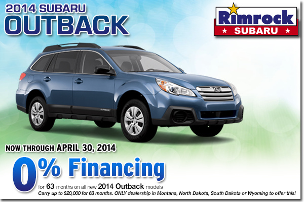 Low APR Financing Offer on a New 2014 Subaru Outback From Rimrock Subaru in Billings, Montana