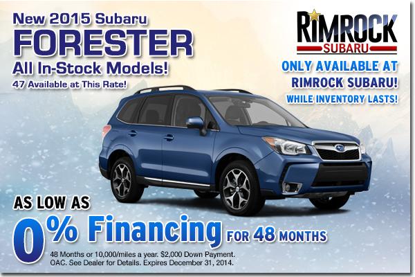 Get low APR financing on a new 2015 Subaru Forester at Rimrock Subaru in Billings, Montana