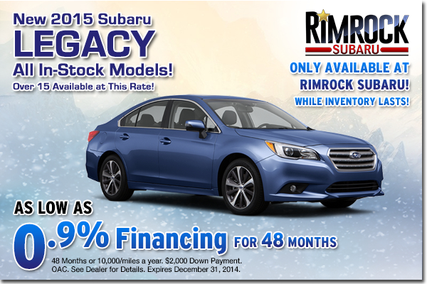 Get low APR financing on a new 2015 Subaru Legacy at Rimrock Subaru in Billings, Montana