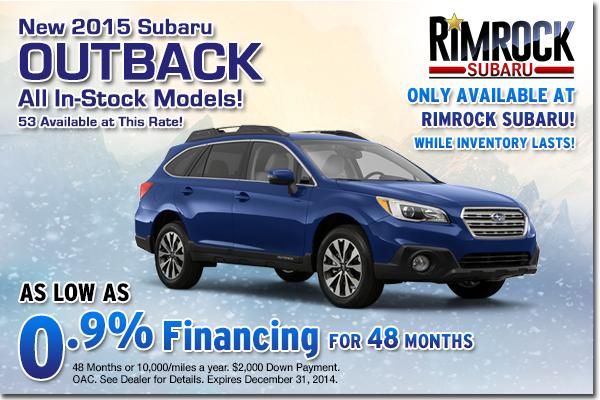 Get low APR financing on a new 2015 Subaru Outback at Rimrock Subaru in Billings, Montana