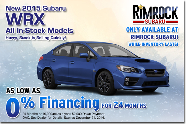 Get low APR financing on a new 2015 Subaru WRX at Rimrock Subaru in Billings, Montana