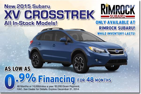 Get low APR financing on a new 2015 Subaru XV Crosstrek at Rimrock Subaru in Billings, Montana