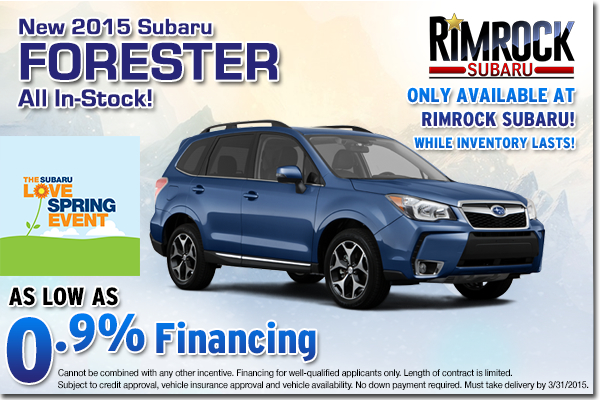 Save when you take advantage of this low APR purchase offer on all new 2015 Foresters in stock at Rimrock Subaru serving all of Montana