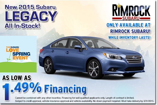 Drive a stylish new Legacy without breaking the bank with this low APR special offer from Rimrock Subaru in Billings serving Hardin, MT