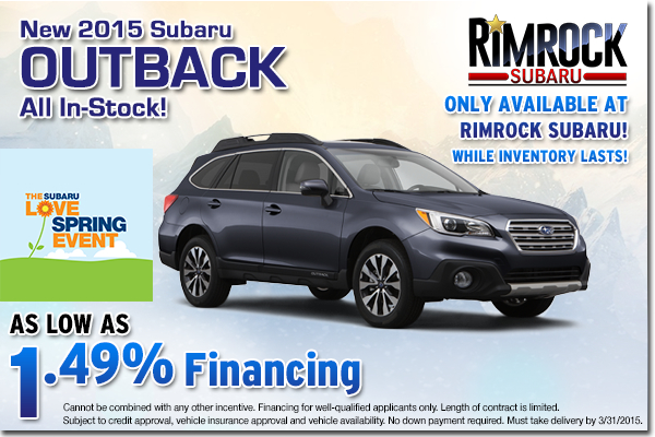 The rugged and versatile 2015 Subaru Outback just got more affordable with low APR financing available at Rimrock Subaru in Billings near Laurel, MT
