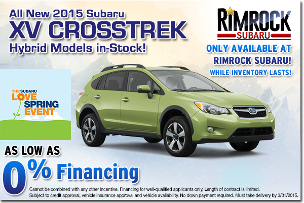 Drive greener and save more green with this low APR purchase special offer on all new 2015 Subaru XV Crosstrek hybrids in stock at Rimrock Subaru in Billings, MT