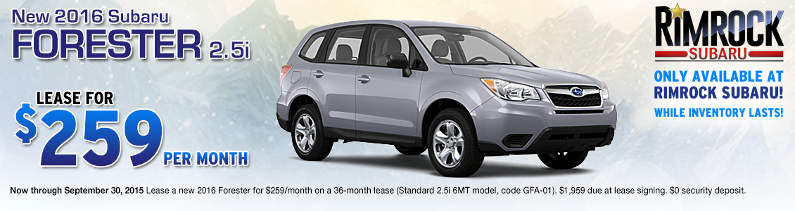 Save on a new 2016 Subaru Forester with this special lease offer from Rimrock Subaru in Billings, MT