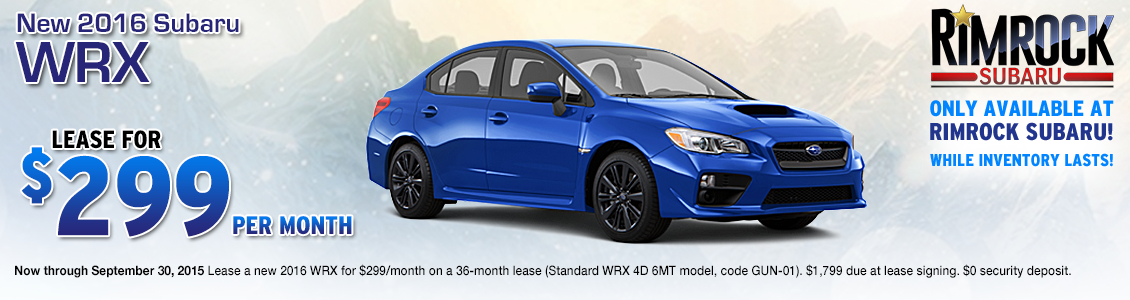 Save on a new 2016 Subaru WRX with this special lease offer from Rimrock Subaru in Billings, MT