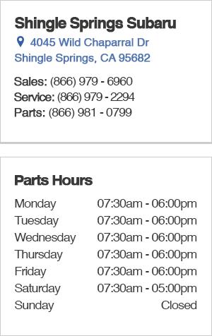 Shingle Springs Subaru Parts Department