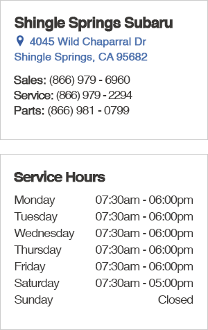 Shingle Springs Subaru Service Department Hours and Location