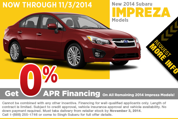 Super low APR financing on new 2014 Subaru Imprezas from Singh Subaru in Riverside, Serving Chino, CA