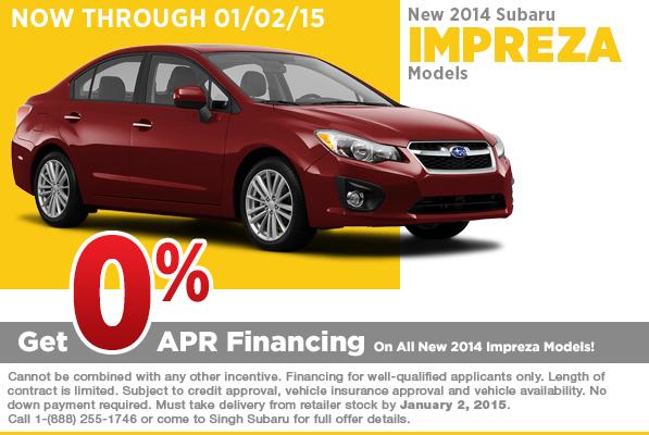Get super low 0% APR financing on a sporty new 2014 Subaru Impreza at Singh Subaru in Riverside, CA
