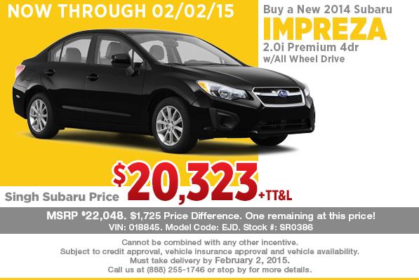 Get a great price on a new Subaru Impreza from Singh Subaru in Riverside, CA