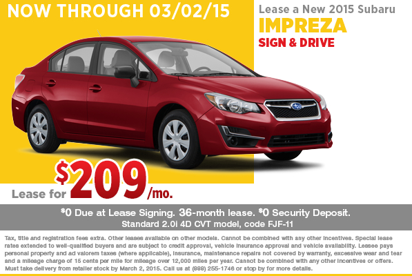 New 2015 Subaru Impreza 4-Door Lease Special in Riverside, CA