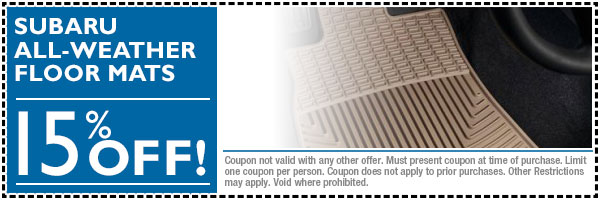 All-Weather Subaru Floor Mats Discount Parts Special Coupon serving Loveland & Fort Collins, Colorado