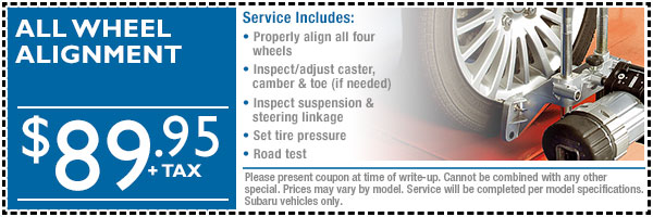 Subaru All-Wheel Alignment Service Special serving Fort Collins & Loveland, Colorado