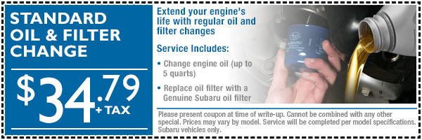 Loveland Subaru Oil Change & Filter Service Special Offer serving Fort Collins & Greeley, Colorado