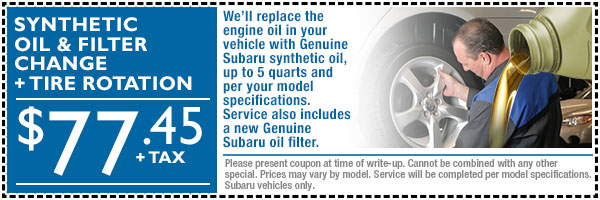 Subaru Synthetic Oil & Filter Change Service Special Offer serving Loveland & Fort Collins, Colorado
