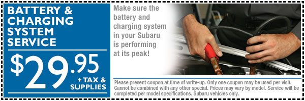 Loveland Subaru Battery & Charging System Service Discount Coupon serving Fort Collins & Greeley, Colorado