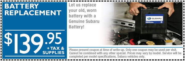 Loveland Subaru Battery Replacement Service Discount Coupon serving Fort Collins & Greeley, Colorado