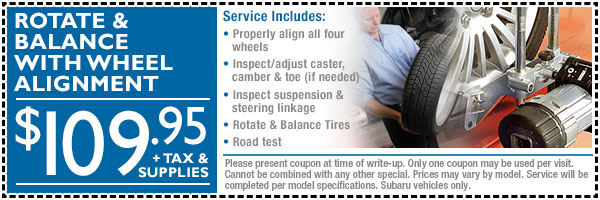 Loveland Subaru Wheel Alignment, Balance & Tire Rotation Maintenance Discount Coupon serving Fort Collins, CO