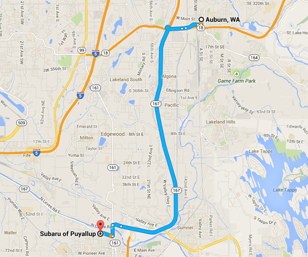 Get Driving Directions to Subaru of Puyallup from Auburn, WA