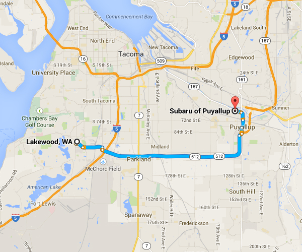 Get Driving Directions to Subaru of Puyallup from Lakewood, WA