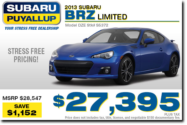 New 2013 Subaru BRZ Discount Purchase Special serving Puyallup, WA