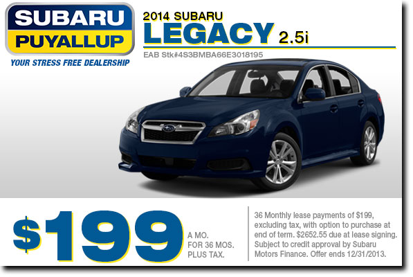 Puyallup New 2014 Subaru Legacy 2.5i Premium Low Payment Lease Offer serving Tacoma & Auburn, WA