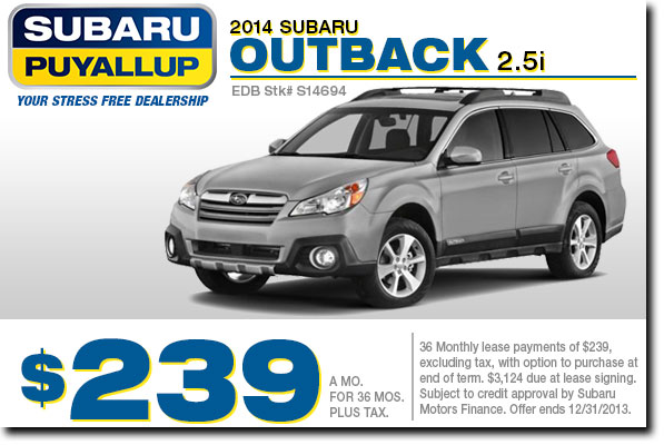 Puyallup New 2014 Suburu Outback Special Lease Payment Offer serving Tacoma & Renton, WA