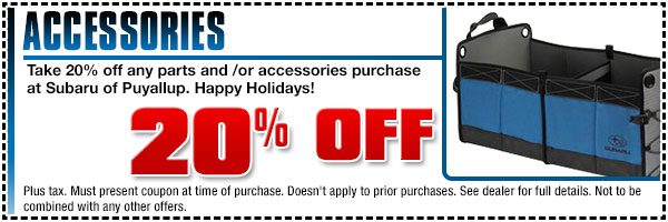 Subaru Holiday Parts & Accessories Special Puyallup, WA