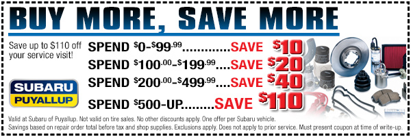 Subaru Buy More, Save More Winter Service Sale Special serving Lakewood & Auburn, WA
