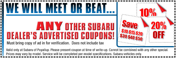 Subaru Meet or Beat Service Special serving Auburn & Puyallup, WA