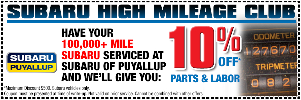 Subaru High Mileage Club Service Special Serving Lakewood, WA
