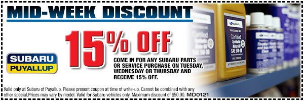 Bring your Subaru in during the middle of the week for extra savings at Subaru of Puyallup serving Tacoma, WA