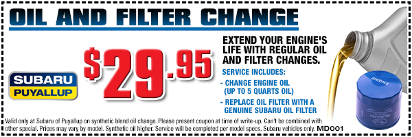 Subaru oil and filter change service special offer from Subaru of Puyallup serving Auburn, WA