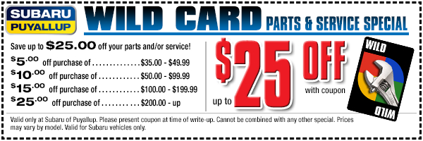 Spend more and save more on genuine Subaru parts and accessories and certified Subaru service with our Wild Card special offer at Subaru of Puyallup, WA