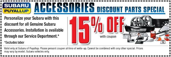 Save big on genuine Subaru parts and accessories with this special offer from Subaru of Puyallup, WA