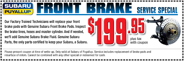 Save on Subaru front brake service with this special offer in Puyallup, WA